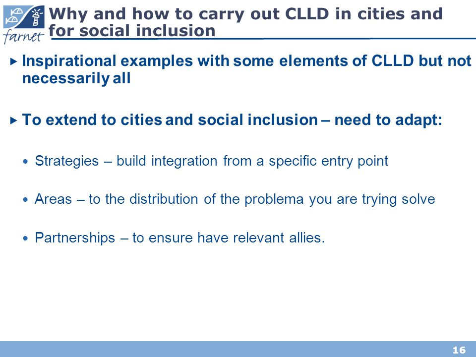 Why and how to carry out CLLD in cities and for social inclusion