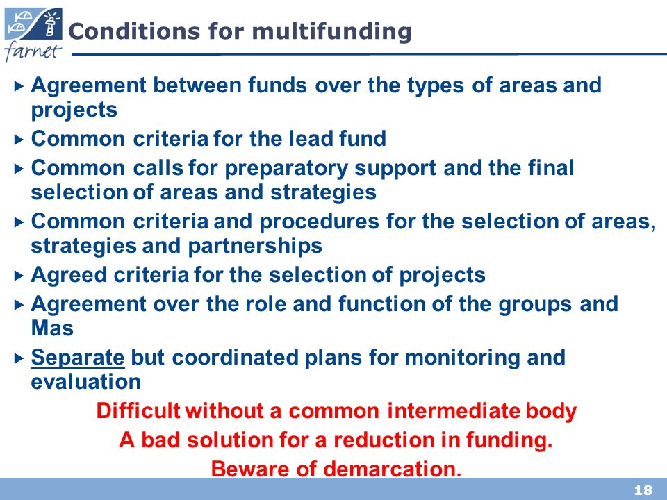 Conditions for multifunding