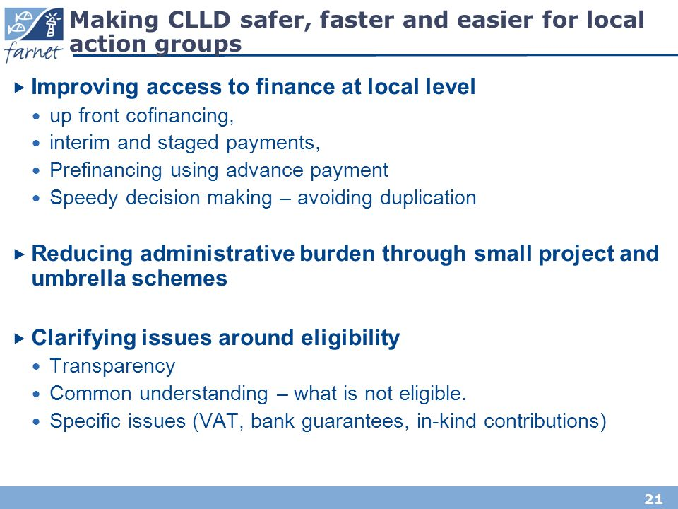 Making CLLD safer, faster and easier for local action groups