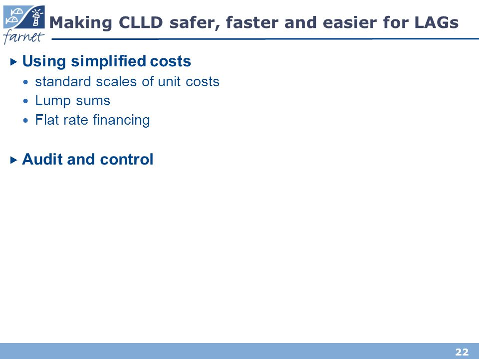 Making CLLD safer, faster and easier for LAGs