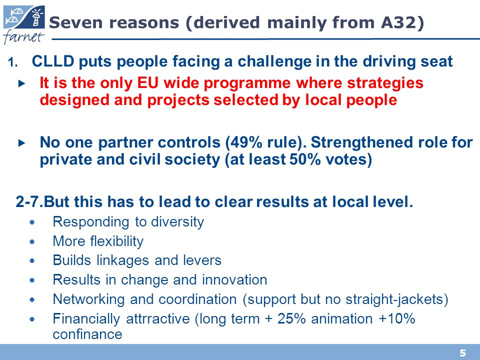 Seven reasons (derived mainly from A32)