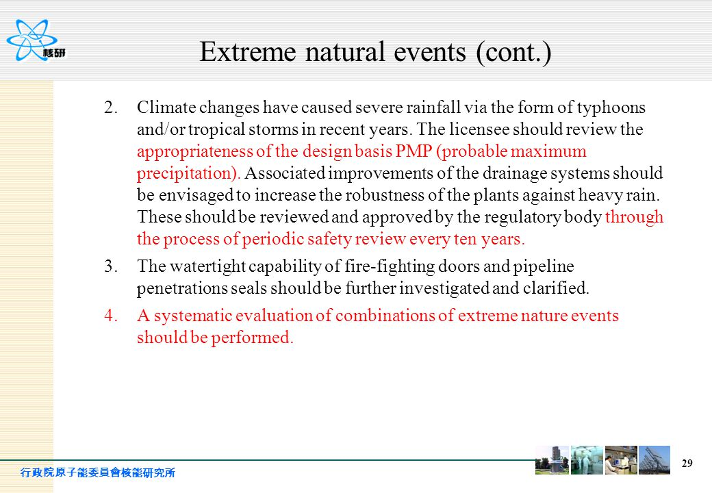 Extreme natural events (cont.)