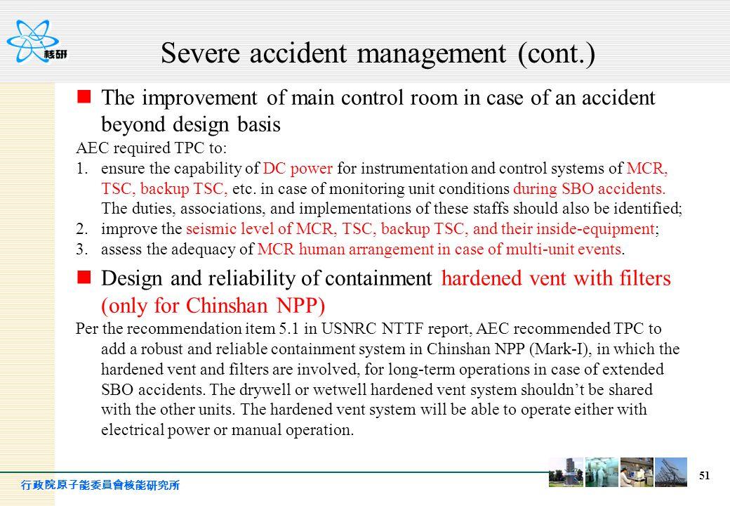 Severe accident management (cont.)