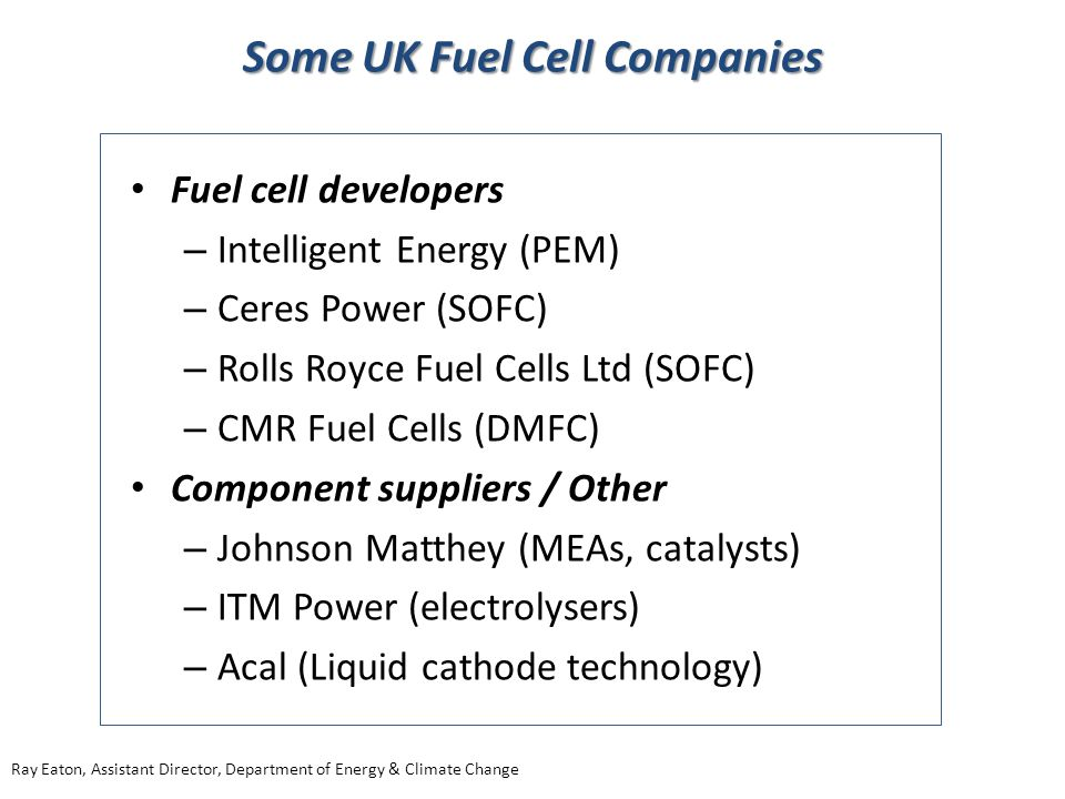 Some UK Fuel Cell Companies