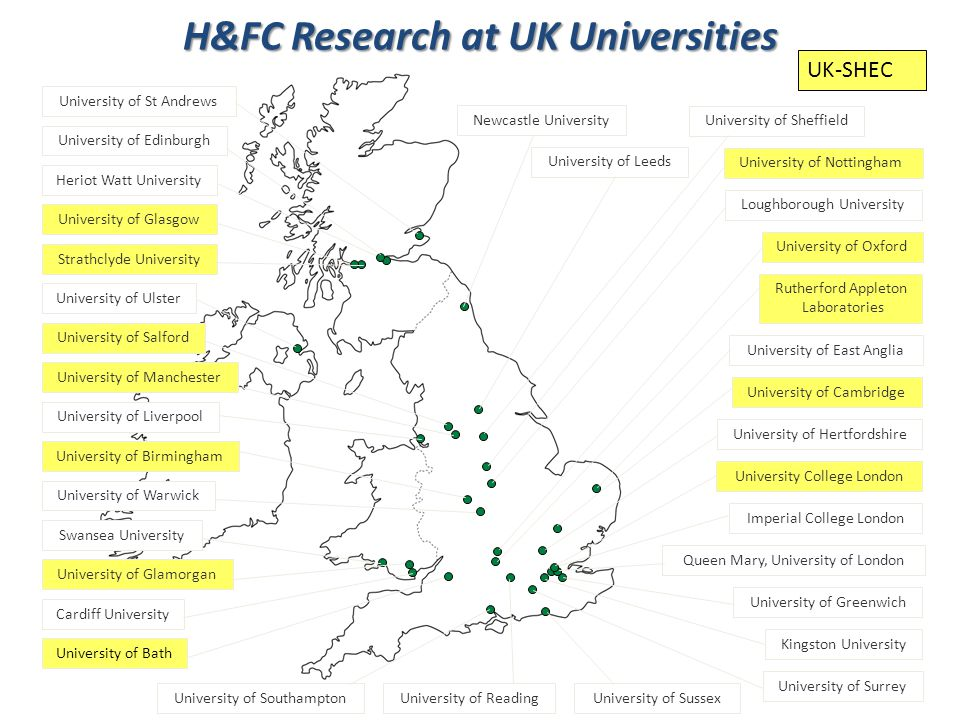 H&FC Research at UK Universities