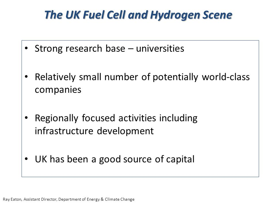 The UK Fuel Cell and Hydrogen Scene