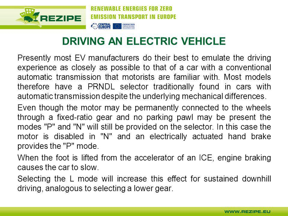 DRIVING AN ELECTRIC VEHICLE