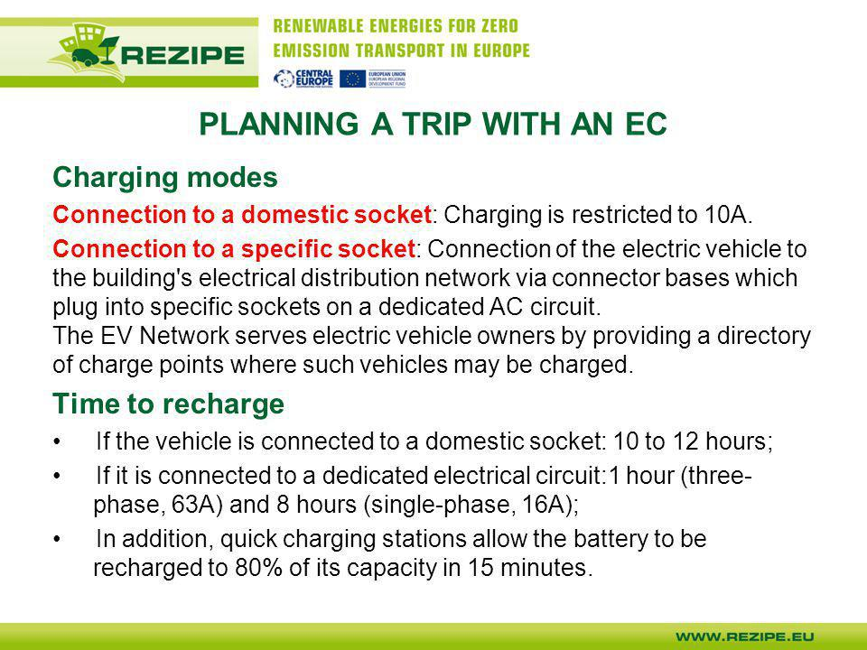 PLANNING A TRIP WITH AN EC