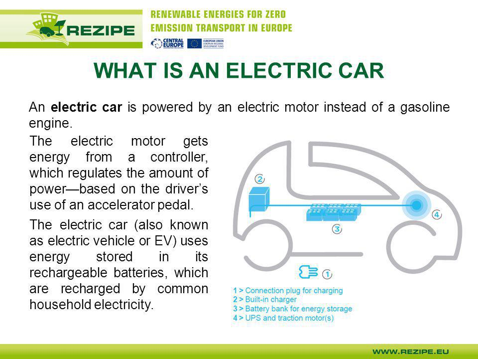 WHAT IS AN ELECTRIC CAR An electric car is powered by an electric motor instead of a gasoline engine.