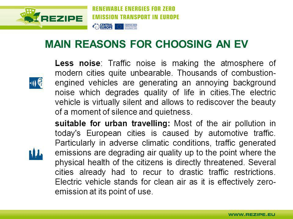 MAIN REASONS FOR CHOOSING AN EV