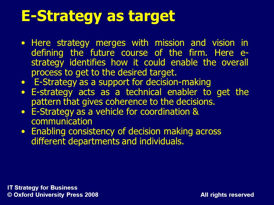 E-Strategy as target