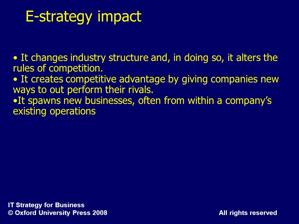 E-strategy impactIt changes industry structure and, in doing so, it alters the rules of competition.