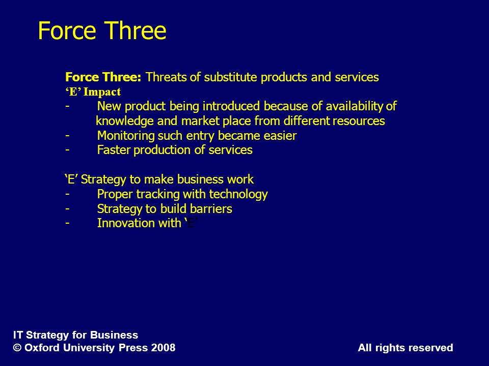 Force Three Force Three: Threats of substitute products and services