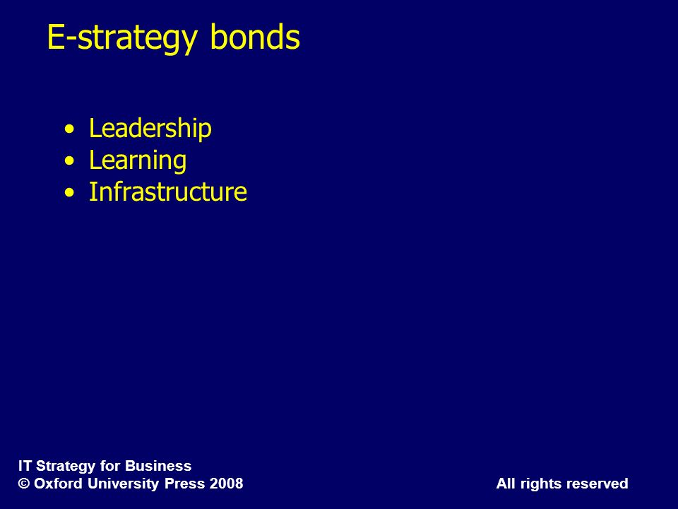 E-strategy bonds Leadership Learning Infrastructure