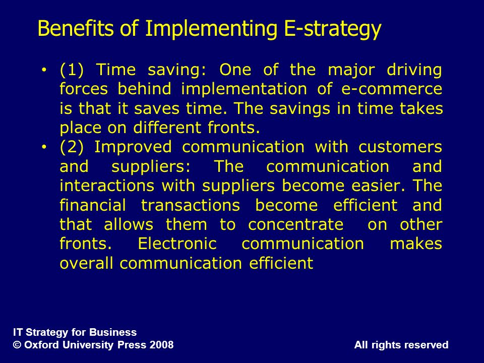 Benefits of Implementing E-strategy