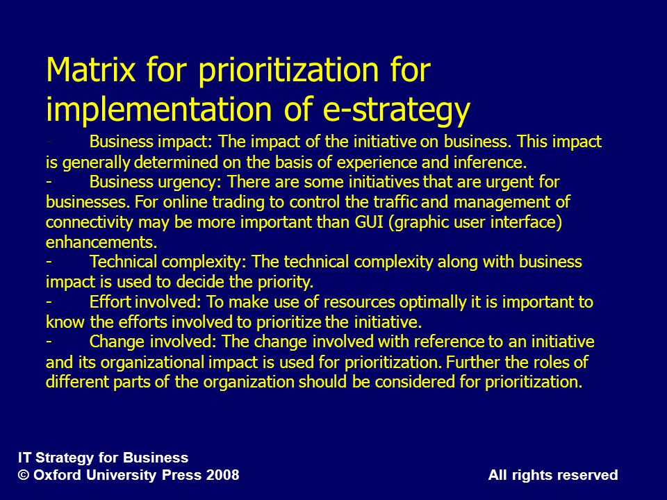 Matrix for prioritization for implementation of e-strategy