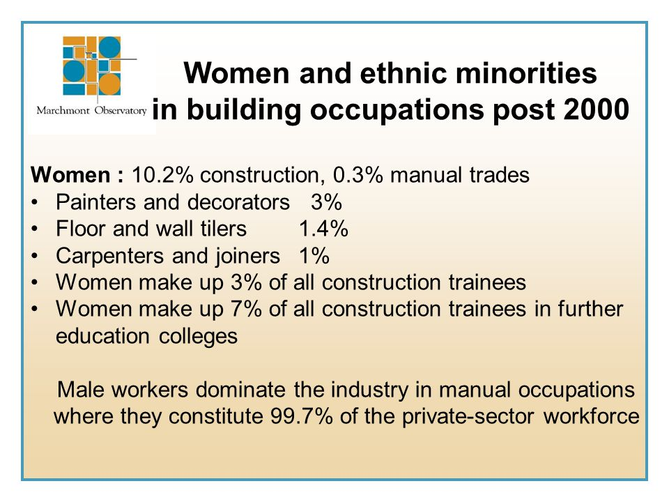 Women and ethnic minorities in building occupations post 2000