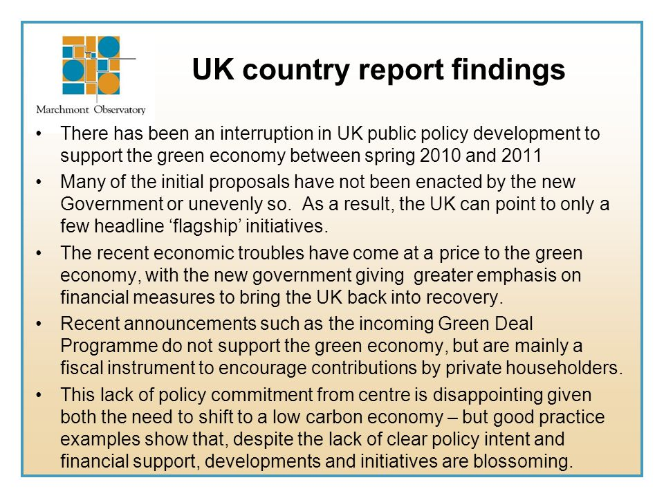 UK country report findings