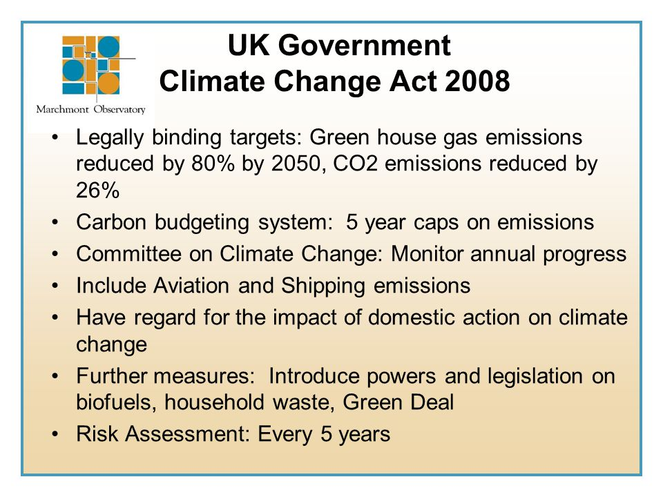 UK Government Climate Change Act 2008