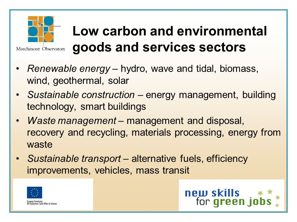Low carbon and environmental goods and services sectors