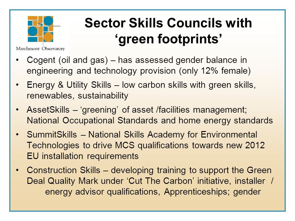 Sector Skills Councils with 'green footprints'