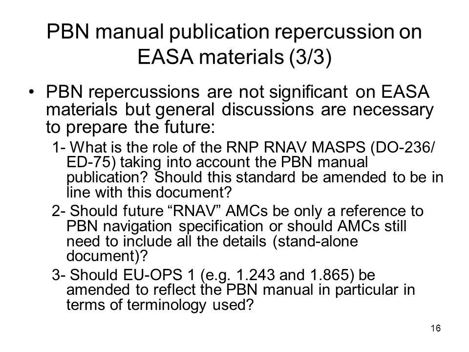 PBN manual publication repercussion on EASA materials (3/3)