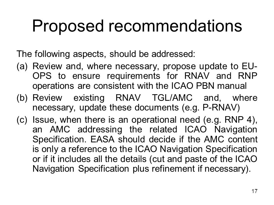 Proposed recommendations