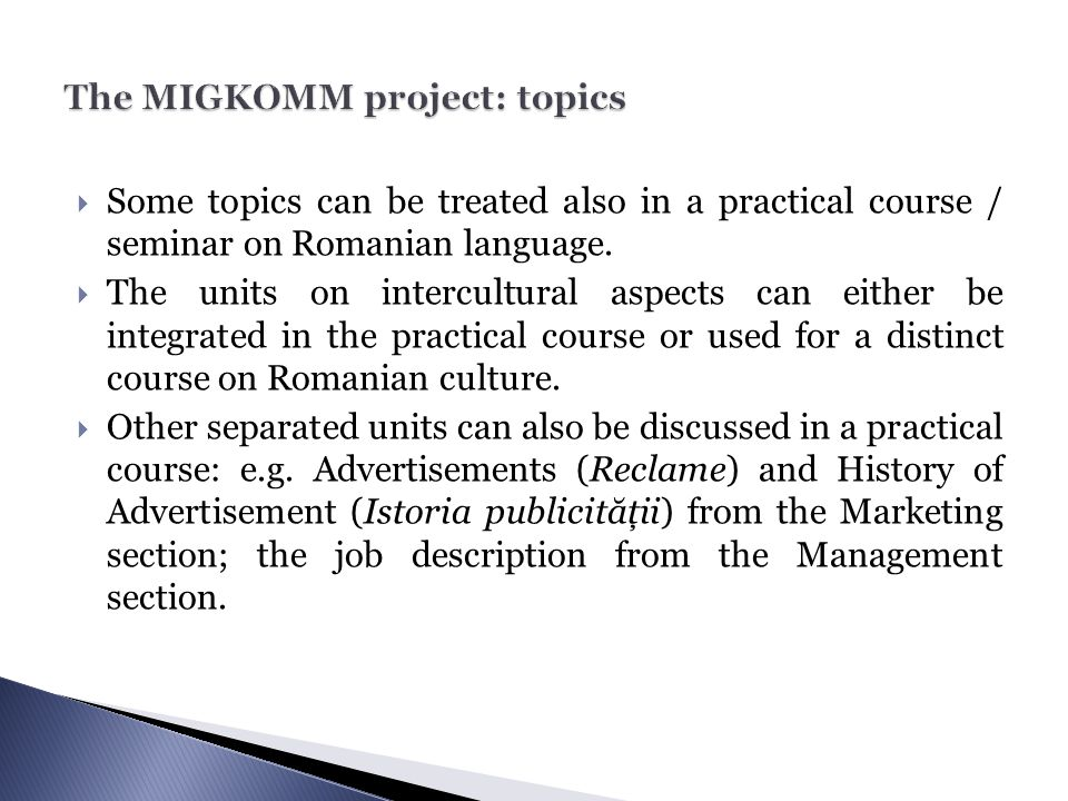 The MIGKOMM project: topics
