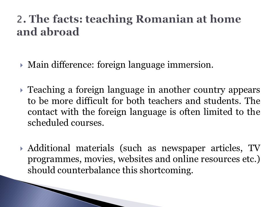 2. The facts: teaching Romanian at home and abroad
