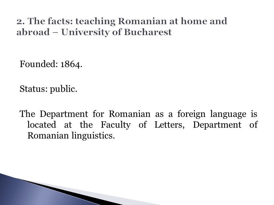 2. The facts: teaching Romanian at home and abroad – University of Bucharest