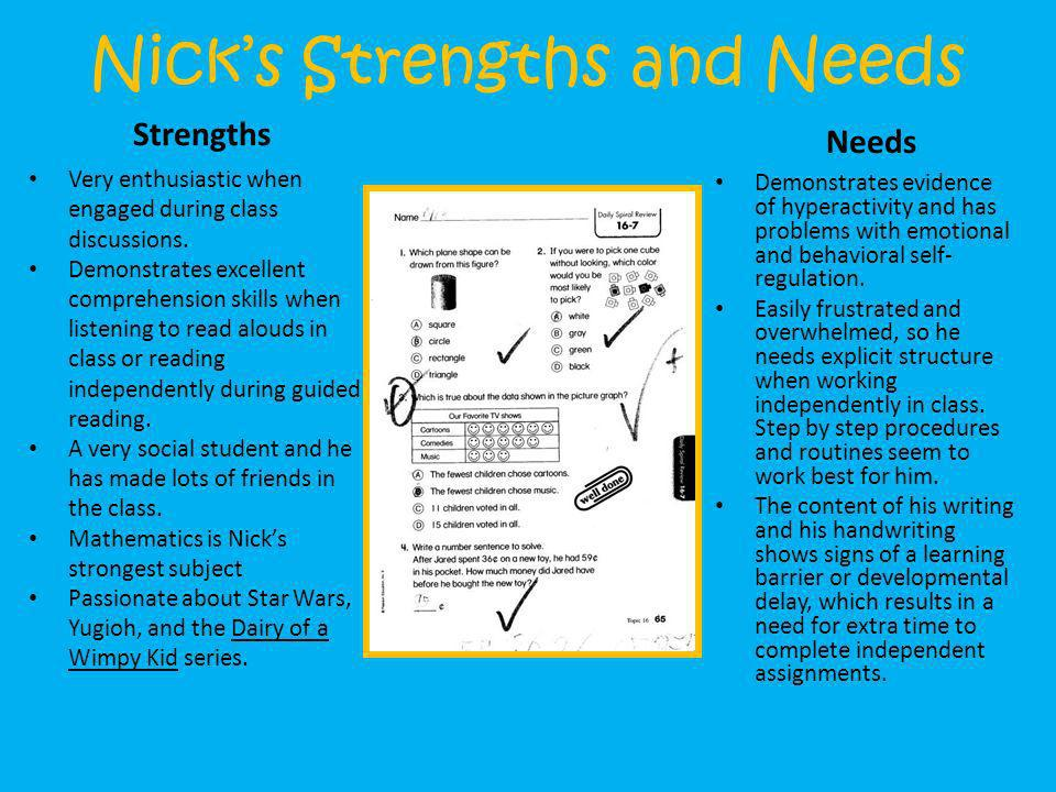Nick's Strengths and Needs