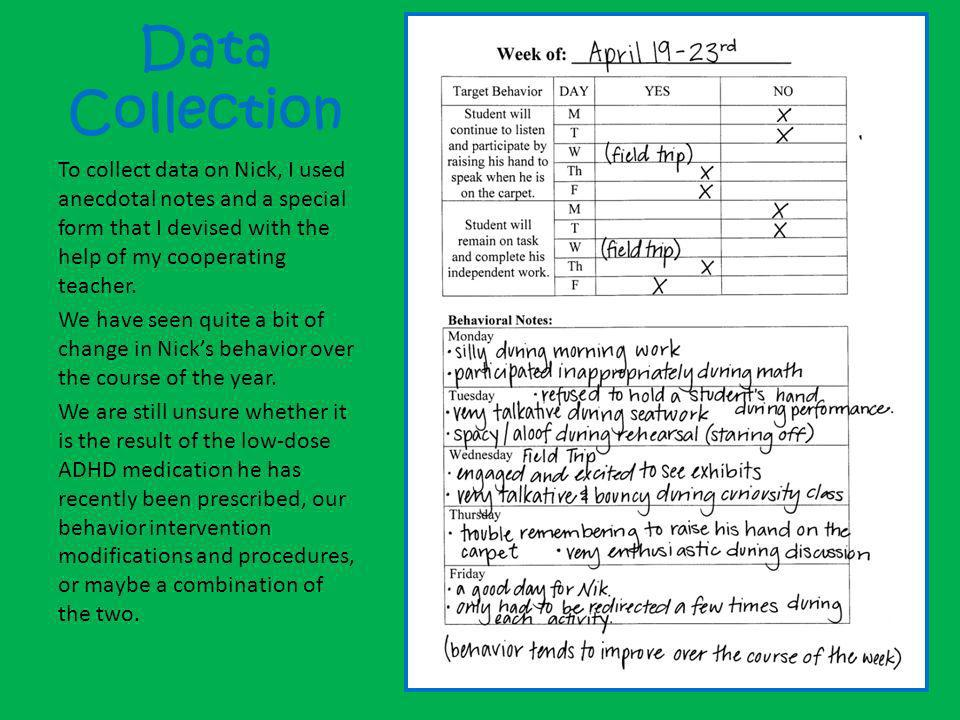 Data Collection To collect data on Nick, I used anecdotal notes and a special form that I devised with the help of my cooperating teacher.