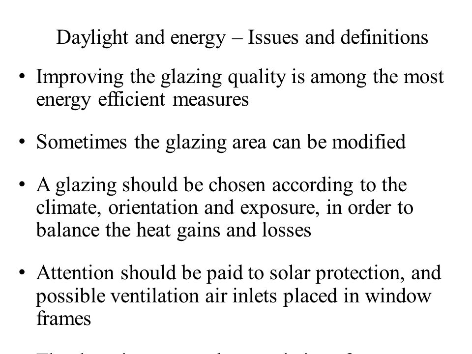 Daylight and energy – Issues and definitions