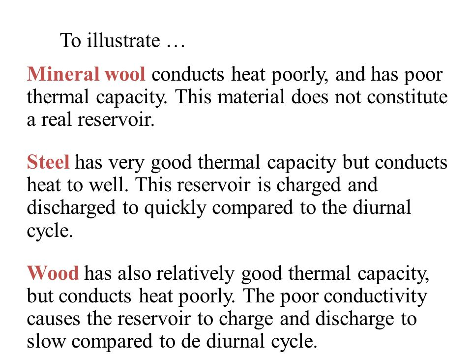 To illustrate … Mineral wool conducts heat poorly, and has poor thermal capacity. This material does not constitute a real reservoir.