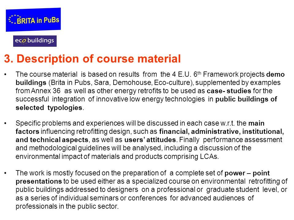 3. Description of course material