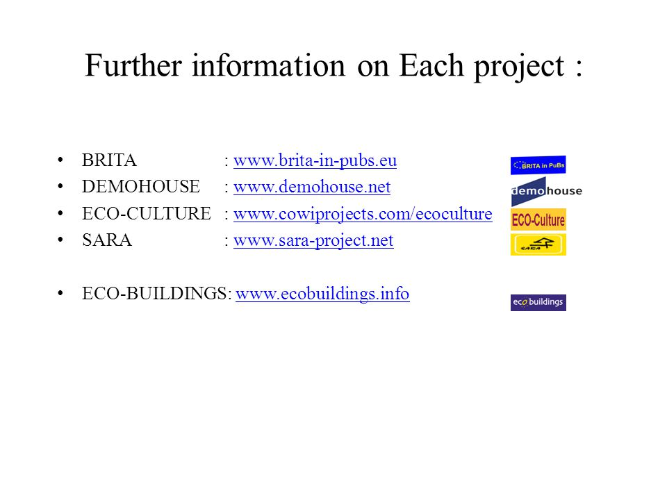 Further information on Each project :