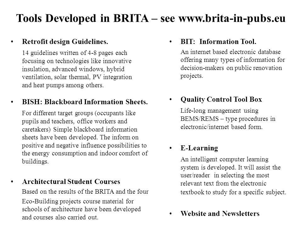 Tools Developed in BRITA – see www.brita-in-pubs.eu