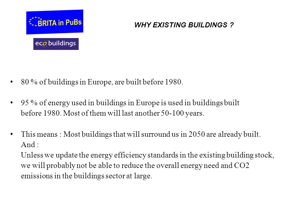 80 % of buildings in Europe, are built before 1980.