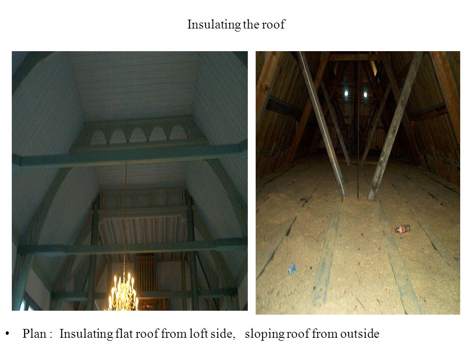 Insulating the roof Plan : Insulating flat roof from loft side, sloping roof from outside
