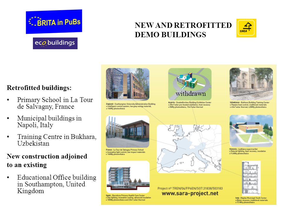 NEW AND RETROFITTED DEMO BUILDINGS