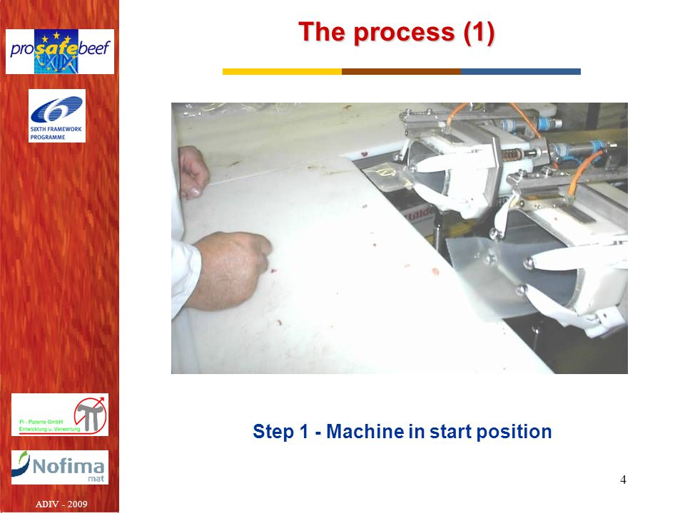 Step 1 - Machine in start position