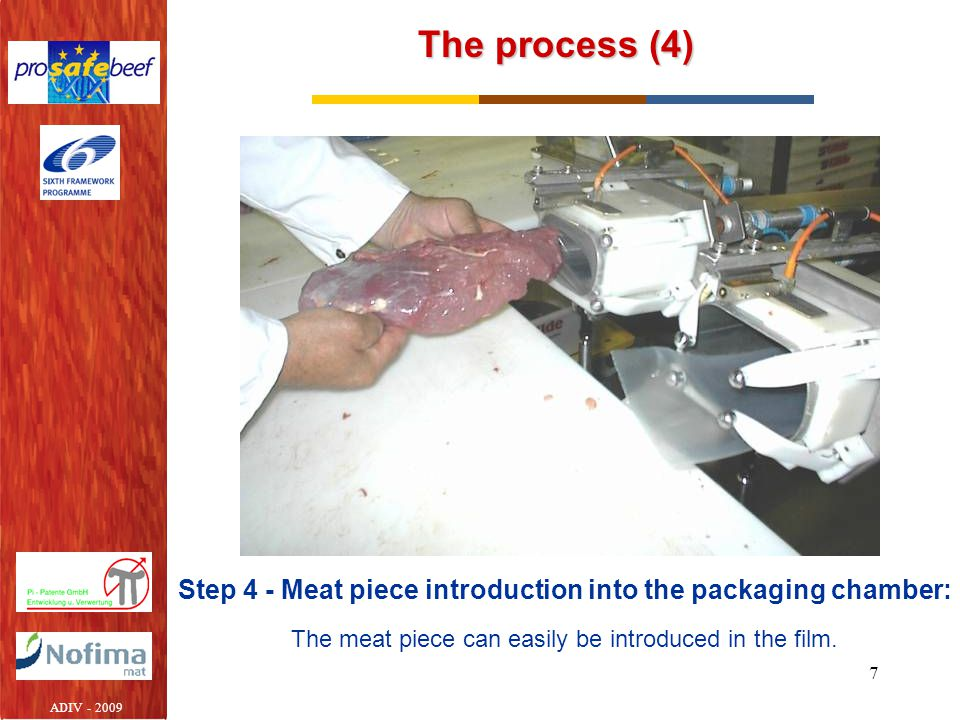 Step 4 - Meat piece introduction into the packaging chamber: