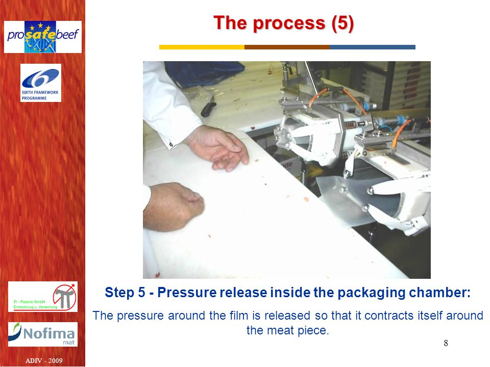 Step 5 - Pressure release inside the packaging chamber: