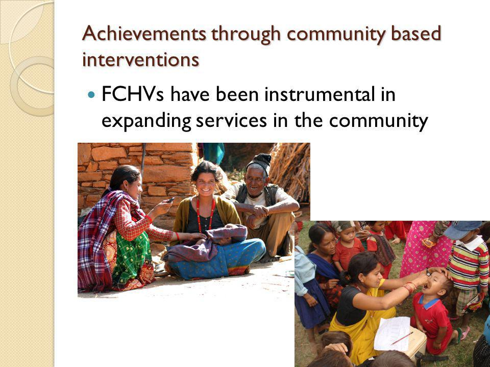 Achievements through community based interventions