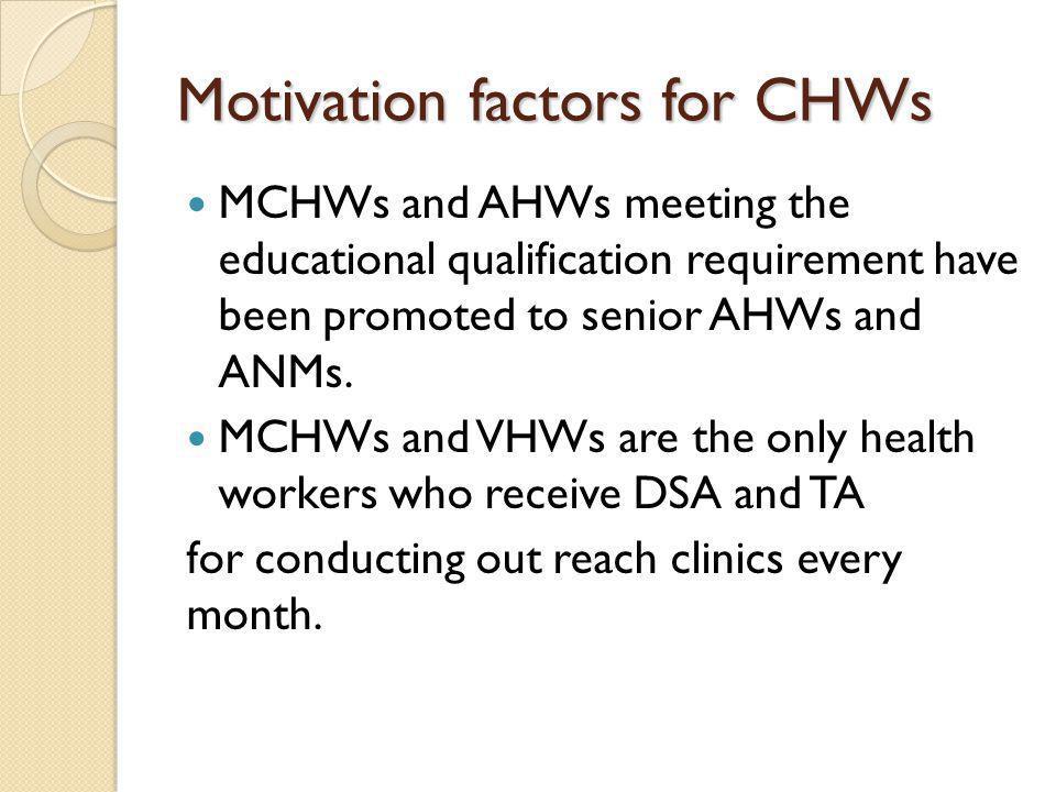 Motivation factors for CHWs