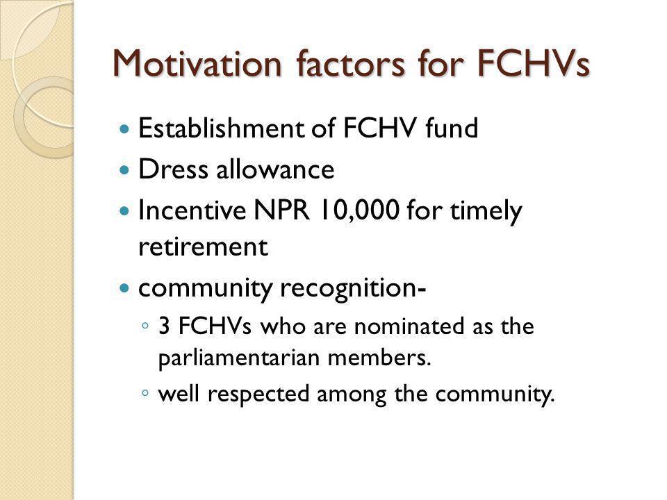 Motivation factors for FCHVs