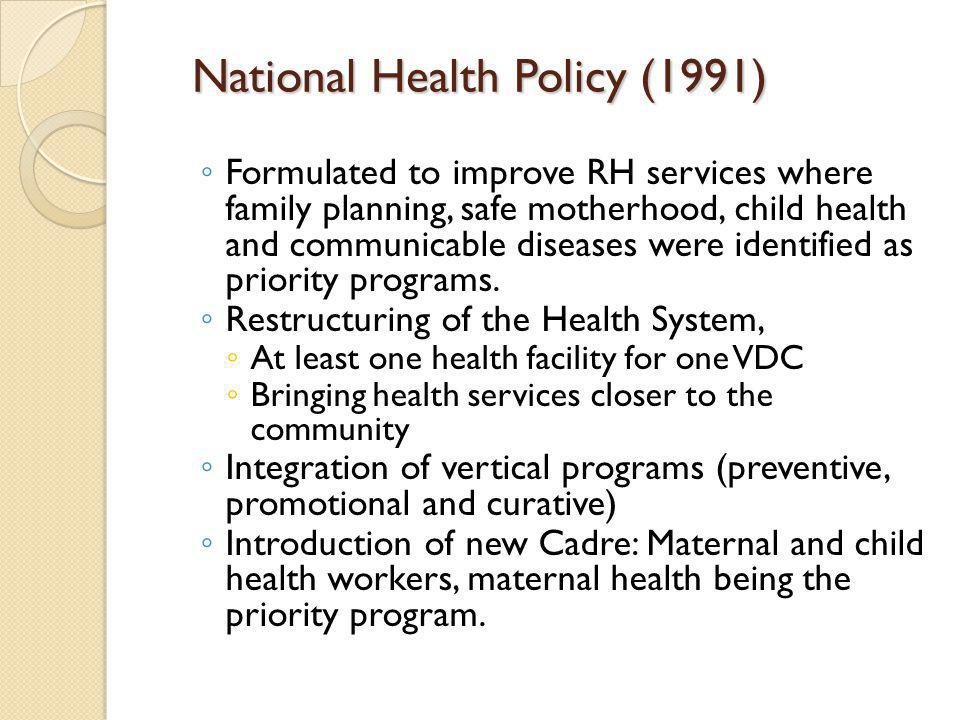 National Health Policy (1991)