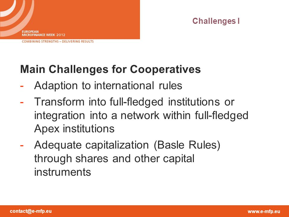 Main Challenges for Cooperatives Adaption to international rules