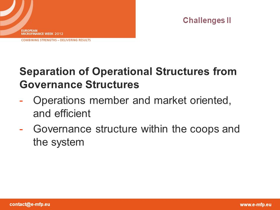Separation of Operational Structures from Governance Structures