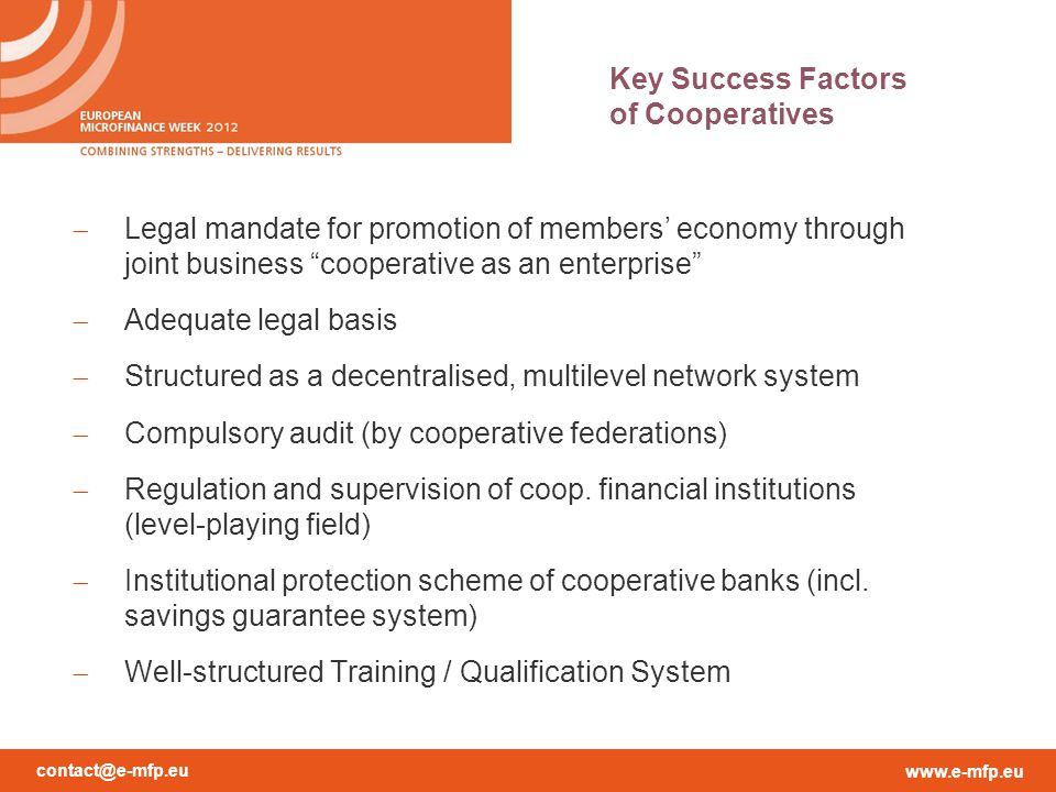 Key Success Factors of Cooperatives